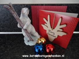 Kerstkaart met houten hanger