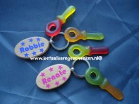 Houten sleutelhangers met naam