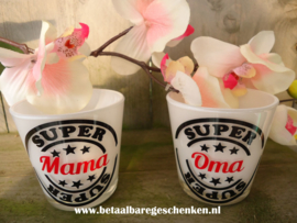 "Waxinelichthouder Super ""Mama"" of ""Oma"""
