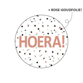 "Sticker ""Hoera"" roze"