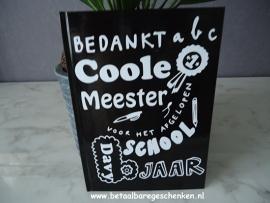 """Notitieboek """"Coole Meester"""" zwart"""