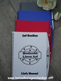 Juf/meester Notitieboek A4 met pen