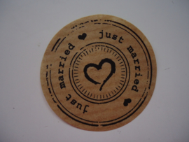 "Kraft sticker ""Just Married"""