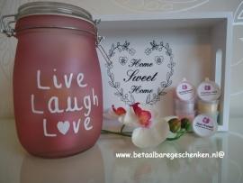 Grote pot met 30 waxmelts roze