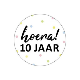 "Sticker ""Hoera 10 jaar"""