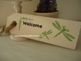 "Houten labelbord ""Welcome"""