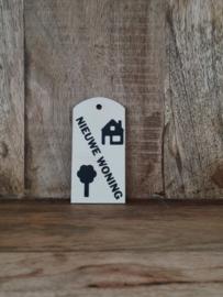"""Houten Label """"Nieuwe woning"""""""