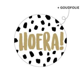 """Sticker """"Hoera"""" goud/dots"""