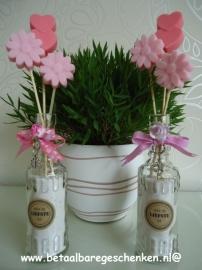 Jufcadeau flesje bloemen waxmelts