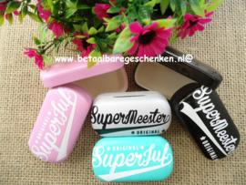 """Opbergdoosje """"Superjuf"""" of """"Supermeester"""""""