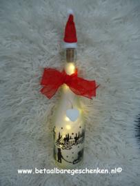"""Verlichte fles """"Kersttafereel"""""""