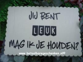 """Houten kaart """"Leuk"""""""