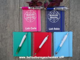 Juf/meester notitieboekje met eigen pen