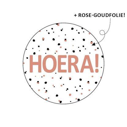 """Sticker """"Hoera"""" roze"""