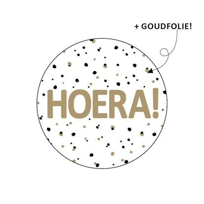 "Sticker ""Hoera"" goud"