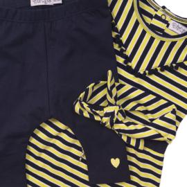 Dirkje Setje Jurk+ Legging En Haarband Navy/Yellow