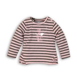Dirkje Longsleeve 'Love' Light Pink/Grey Melee