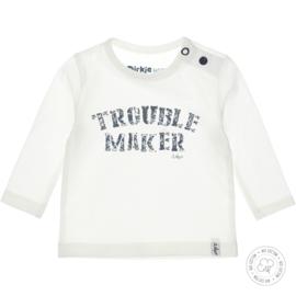 Dirkje Bio Cotton Shirt 'Troublemaker' Off White