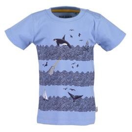 Blue Seven Shirt 'Whale Dive' Helderblauw