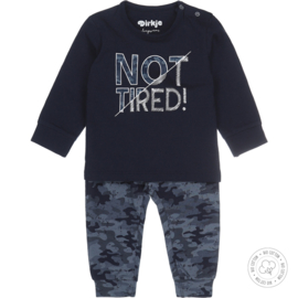 Dirkje Bio Cotton Pyjama 'Not Tired!' Navy