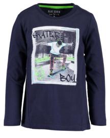 Blue Seven Longsleeve 'Skater Boy' Donkerblauw