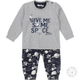 Dirkje Bio Cotton Pyjama 'Space' Grijs/Navy