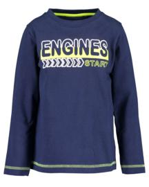 Blue Seven Shirt 'Neon Racer' Donkerblauw