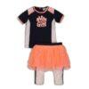 Dirkje Set 'Nice Girl' Shirt+Rok+Legging Neon Orange