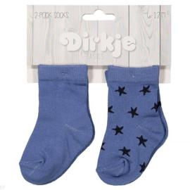 Dirkje 2 paar sokjes 6-12 maanden Blauw