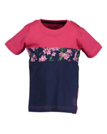 Blue Seven Shirt 'Flowers' Roze/Donkerblauw