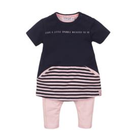 Dirkje Set Jurk+Legging Light Pink/Navy