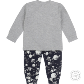 Dirkje Bio Cotton Pyjama 'Space' Grijs/Navy