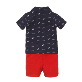 Dirkje Set 'Hawaii Beach' Short+Polo Navy/Red