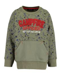 Blue Seven Sweater 'Campfire' Olijfgroen