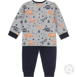 Dirkje Bio Cotton Pyjama 'Dinosaur' Grey Melee + Navy
