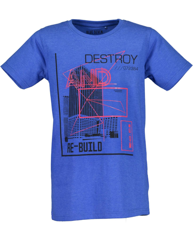 Blue Seven Shirt 'Re-build' Blauw