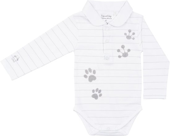 Frogs and Dogs Polo Romper Wit