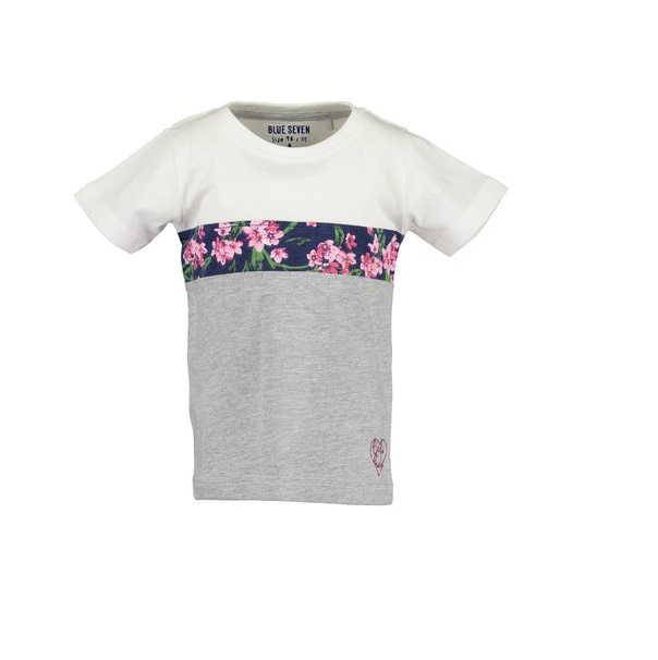 Blue Seven Shirt 'Flowers' Wit/Grijs