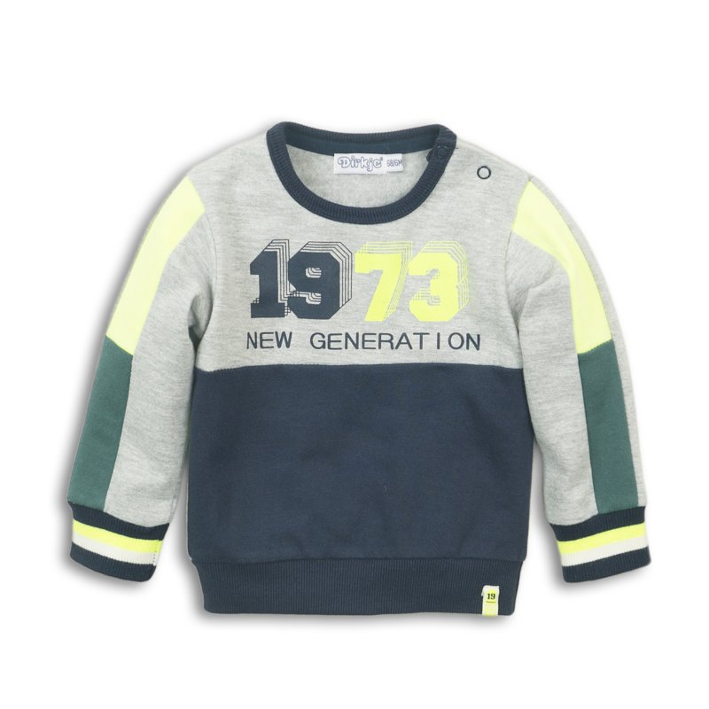 Dirkje Sweater Grey Melee/Navy/Neon Yellow