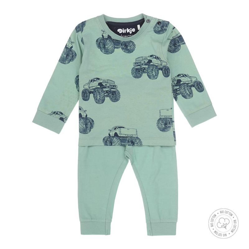 Dirkje Bio Cotton Pyjama 'Monstertruck' Smokey Green