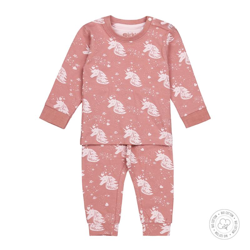 Dirkje Bio Cotton Pyjama Ash Pink Unicorn