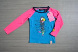 B.Nosy longsleeve blauw/roze maat 98/104
