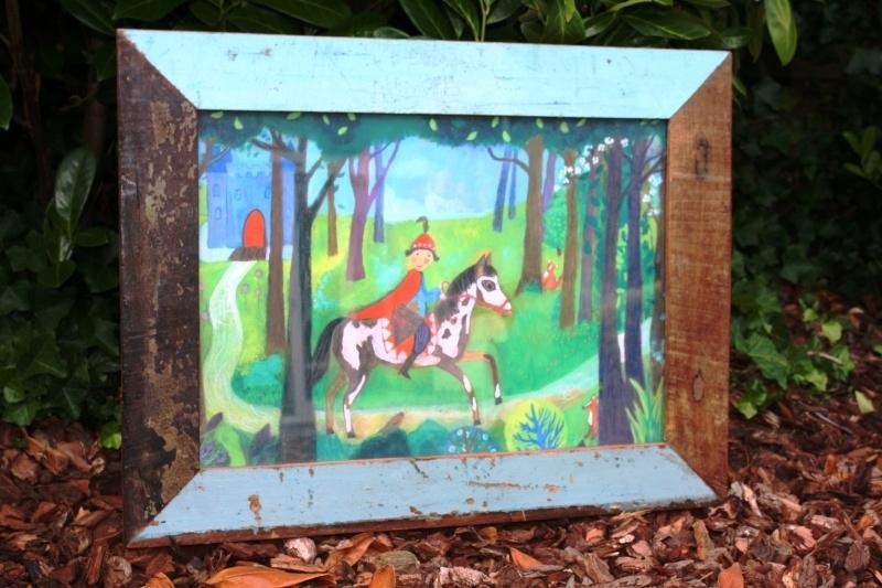 Kinderposter met paard en ruiter (zonder lijst)