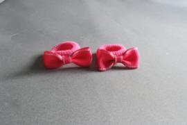 Baby elastiekje met strikje 'fuschsia/zilver'