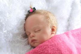 Baby klittenband speldje 'blauw/fel roze'