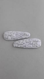 Wollen kinder haarknipje 'grijs'