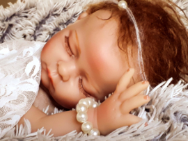Newborn setje  armband + haarbandje 'parel'