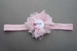 Haarbandje met naam 'roze kant'