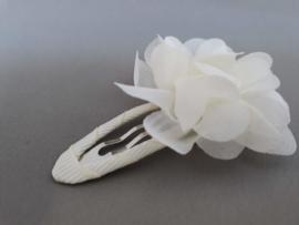 Haarspeldje met chiffon bloem (ivoor)