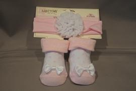 Setje sokjes + bijpassend haarbandje 'roze'